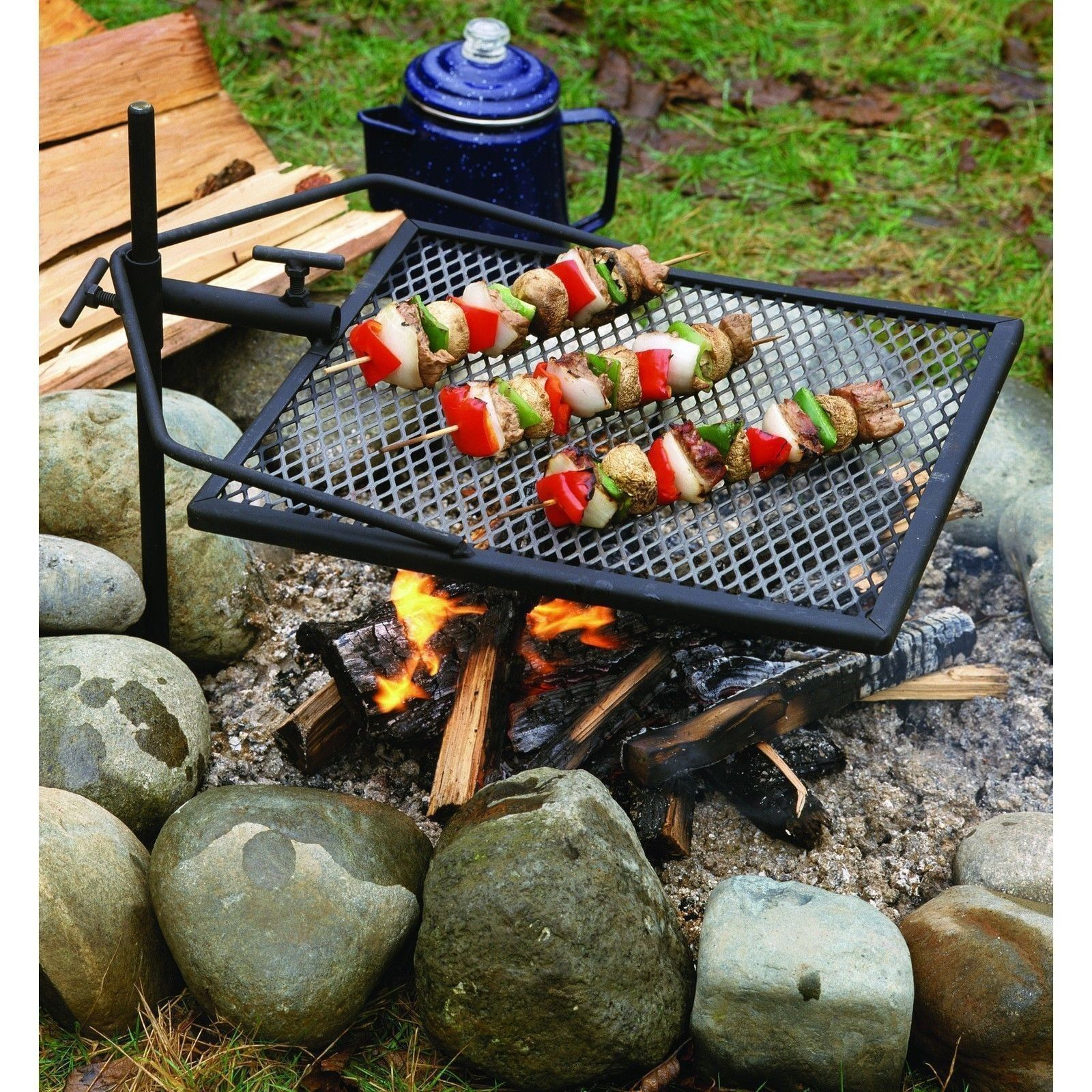 Portable Grill Adjustable Camping Equipment Campfire ...