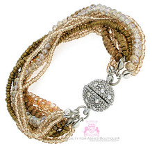 Bronze Seed Bead Magnetic 9 Strand Layered Bracelet Pave Ball Crystal Si... - $8.75