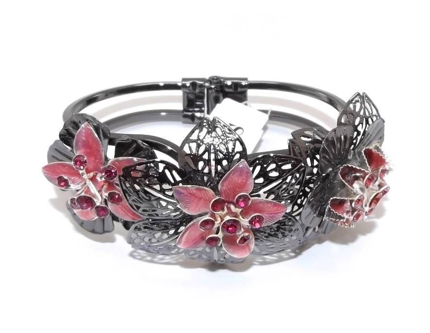 NEW STYLE & CO. HEMBRY PINK RED CRYSTAL FLOWER HINGE BRACELET
