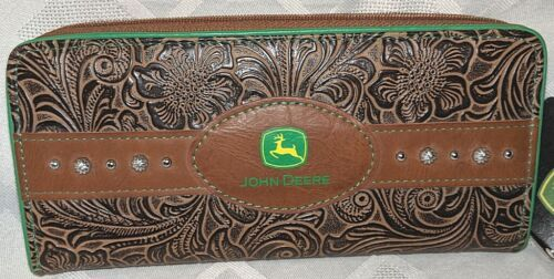 Gem Dandy Accessories John Deere Embossed Tan Floral Clutch