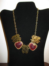 Gorgeous Chunky Gold with Red Gemstones Bib Necklace New & Hot! #D684 - $15.99