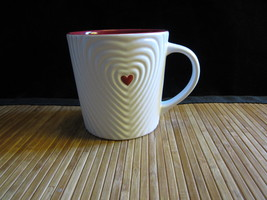 2008 Starbucks White Embossed Rippled Red Heart Valentine Coffee Mug Tea... - $24.99