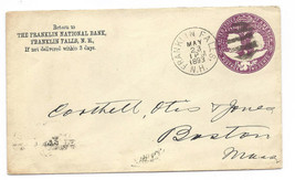 1893 Franklin Falls, NH Discontinued/Defunct Post Office (DPO) Postal Cover - $7.99