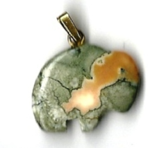 "New Carved Fancy Jasper Gemstone Green Buffalo Pendant w/ 18"" gold-tone ... - $7.00"