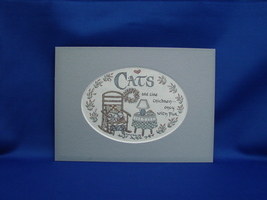 Cat Calligraphy Print by Lynn Norton Parker in 5x7 Mat Ready to Frame (1990) - $7.99