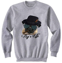PUG LIFE GANGSTER - NEW COTTON GREY SWEATSHIRT- S-M-L-XL-XXL - $47.42