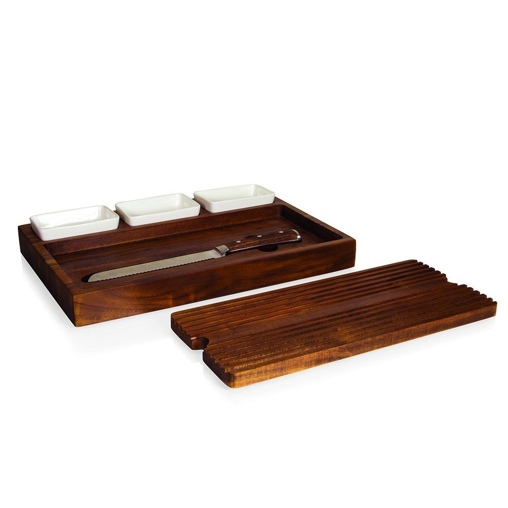 Heritage Collection Bruchetta Acacia Cutting Board with Bread Knife with plates