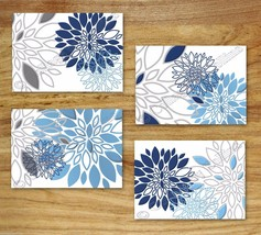 Blue Navy Gray Wall Art Print Decor Floral Flower White Kitchen Bathroom Bedroom - $13.99