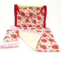 Strawberry Shortcake Doll Tote Blanket Pillow Toy Vintage 1980s Handmade - $14.03