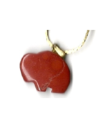 "New Carved Brick Red Jasper Gemstone Buffalo Pendant w/ 18"" gold-tone chain - $7.00"