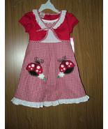 KIDZONE Girl's Red&White, Seersucker Ladybug Dress, Size 4T. NWT - $12.99