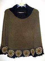 Embroidered turtleneck Poncho,Alpacawool,outerwear, crochete - $225.00