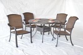 """Santa Clara Outdoor Patio 5pc Set Dining Table 48"""" Dark Bronze or Mocha ... - $1,270.00"""