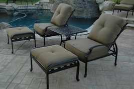 Elizabeth Outdoor Patio 5pc Set Adjustable Club Chairs Cast Aluminum Dar... - $1,158.30+