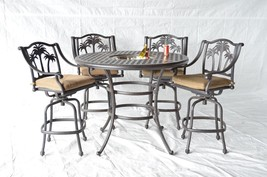 "Palm Tree Outdoor Patio 5pc Set Bar Table 52"" Cast Aluminum Dark Bronze - $1,731.51+"