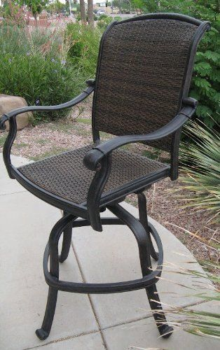 Santa Clara Outdoor Patio Swivel Bar Stools Cast Aluminum Set Of 4 Chairs