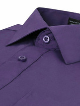 Omega Italy Men Purple Classic Fit Standard Cuff Solid Dress Shirt - 2XL image 2