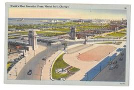 Chicago IL Grant Park Worlds Most Beautiful Plaza Vtg Tichnor Linen Postcard - $4.99