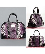 Betsey Johnson Betseyville Cheetah Leopard Purple Stud Hobo Travel Overn... - $325.00