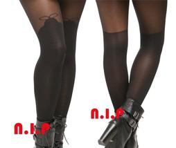 Black Punk Sheer Lace Tie Tights Goth Burlesque Retro Stockings Jrock Pantyhose - $65.00