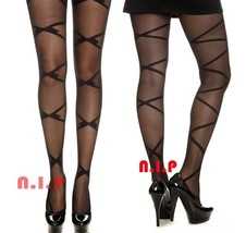 Black Ribbon Lace Up Prints Pantyhose Punk Tights Goth Burlesque Retro S... - €57,59 EUR