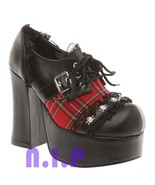 DEMONIA Goth Punk Red Plaid Platform Cyber Emo Hot Topic Heels Shoes Ank... - $207.00