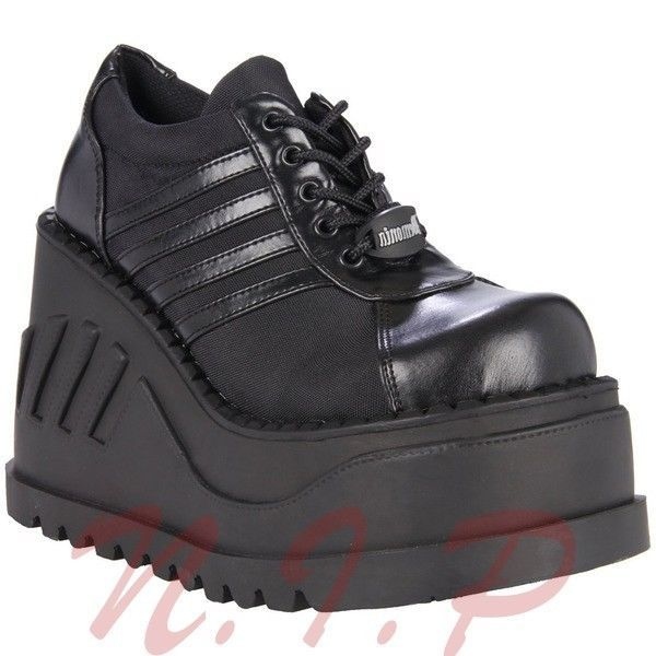 Pleaser Demonia Stomp 08 Cyber Goth Punk Industrial Black Wedge Platform Sneaker
