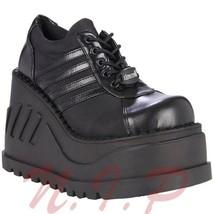Demonia Stomp 08 Lace-up Platform Wedge Emo Boots Cyber Sneaker Punk Got... - $194.00