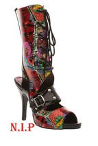 Demonia Zombie Lace Up Heavy Metal Gladiator Peep Toe Heel Goth Punk Boo... - $189.00