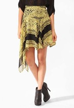 Forever21 Asymmetrical High Low Lace Print Sheer Chiffon Skirt Party Clu... - $121.58 CAD