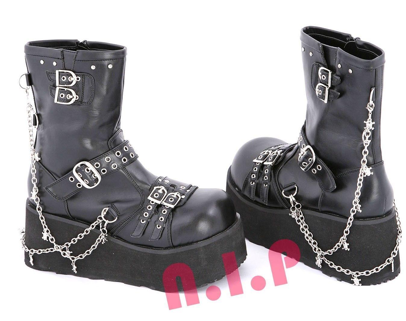 11ea4091ee72 Demonia SKULL Platform Heavy Metal Punk Goth Club Cyber CHAIN CALF Boots  Shoes