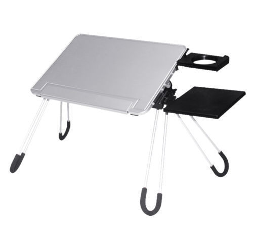 E-Stand Aluminum Multi purpose Laptop Stand Desk Mouse Pad Cup Holder (Silver)
