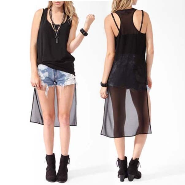 Forever21 High Low Racerback Sheer Tank Top Punk Goth Club Street wear Party emo - $91.00