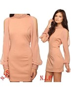 Forever21 Nude Long Sleeves Cutout Mesh Studded Embellished Party Dress ... - $105.00