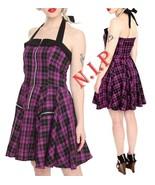 HELL BUNNY Plaid Halter Dress Hot Topic Visual Kei Punk Goth Pin Up Rock... - $189.00