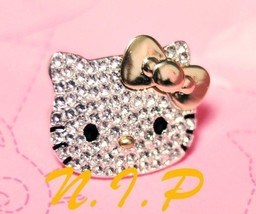 HELLO KITTY Rhinestone Gold Bow Large Head Blin... - $65.00
