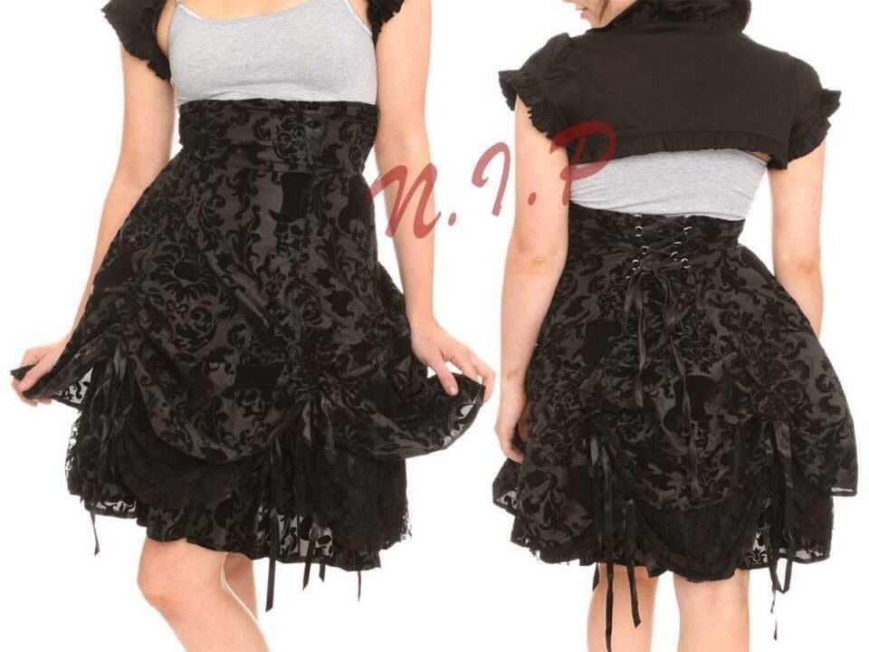 57. 57. Previous. Hell Bunny Skull Flocked High Waist Bustle Skirt Punk  Goth Visual Kei Hot Topic 5715a2486