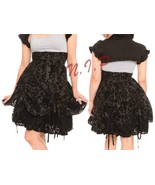 Hell Bunny Skull Flocked High Waist Bustle Skirt Punk Goth Visual Kei Ho... - $219.00