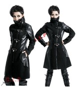 Heavy Metal Leather Visual Kei Goth Locks Long Punk Steampunk Jacket Woo... - $355.00