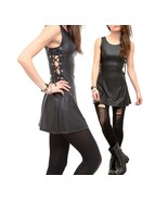 Hot Topic Black Rubberized Laced Up Side Silver Tone Dress Visual Kei Pu... - $169.00