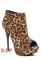 Hot Topic Leopard Velvet Qupid Camel Platform Peep Open Toes Heels Shoes Boots - $189.00