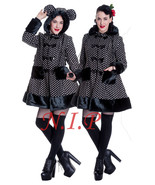 Hot Topic Punk Goth HELL BUNNY Mika Bear Ears Pom Poms Faux Fur Polka Do... - $221.00