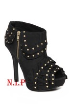 Hot Topic QUPID Gold Studs Ruffle Platform High Heels Peep Open Toes Ankle Boots - $189.00