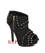 Hot Topic QUPID Gold Studs Ruffle Platform High Heels Peep Open Toes Ank... - $189.00