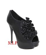 Hot Topic QUPID Goth Ruffle Peep Open Toes Platform Ankle Boots High Hee... - $189.00