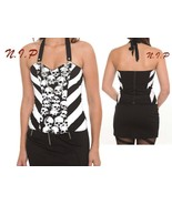 Hot Topic Stripes Punk Skull Corest Top Visual Kei Goth Cyber Steampunk ... - $142.00