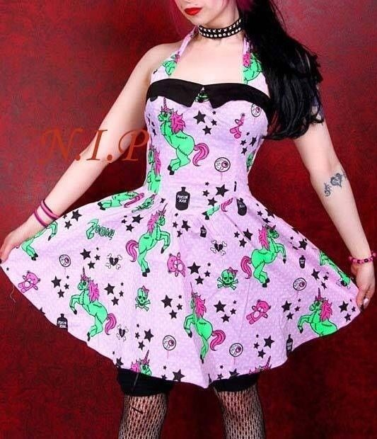 Hell Bunny Zombie Unicorn Dress Visual Kei Goth Pin Up Retro Punk Rockability