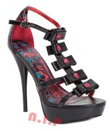 Iron Fist Goth Heart Stopper Bows Gladiator Platform Sandals Heels Punk ... - $189.00