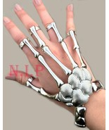 Metallic Silver Cyber Goth Futuristic Skeleton Hand Wrist Ring Punk Emo ... - $78.00