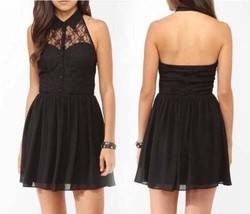 NEW Fit & Flare Collar Button Lace Halter Cocktail Party Club wear Eveni... - $105.00